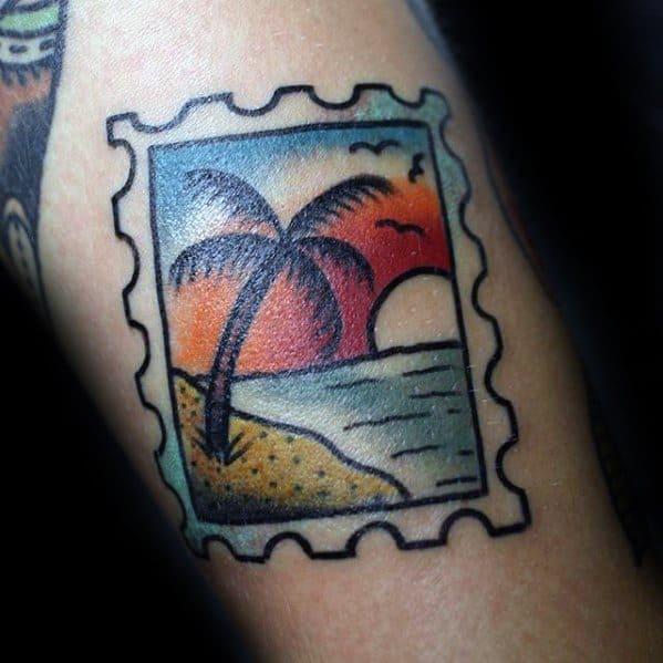 Small Arm Guys Palm Tree Ocean Beach Postage Stamp Tattoos