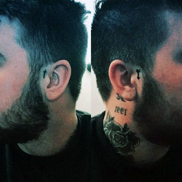 Behind the ear cross tattoos for men