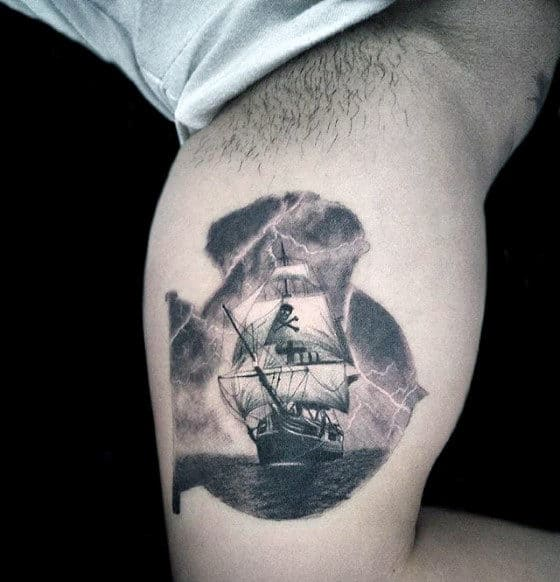 Small Awesome Pirate Ship Sailing In Storm Mens Inner Arm Bicep Tattoos