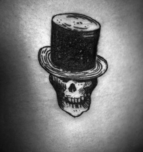 Small Back Male Top Hat Skull Sketched Tattoo Ideas