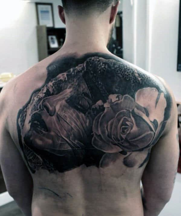 Rose Small Back Tattoos For Men
