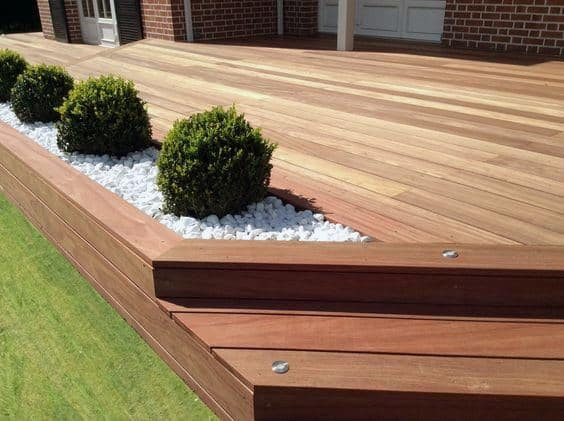 Small Backyard Deck Ideas With Built In Planter - Top 60 Best Backyard Deck Ideas - Wood And Composite Decking Designs