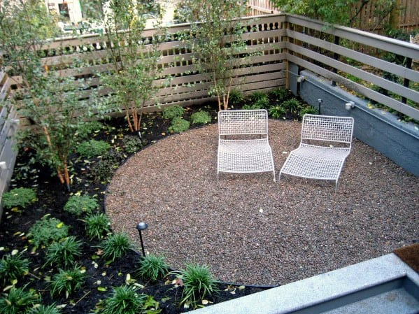 Small Backyard Design Ideas For Circle Gravel Patio