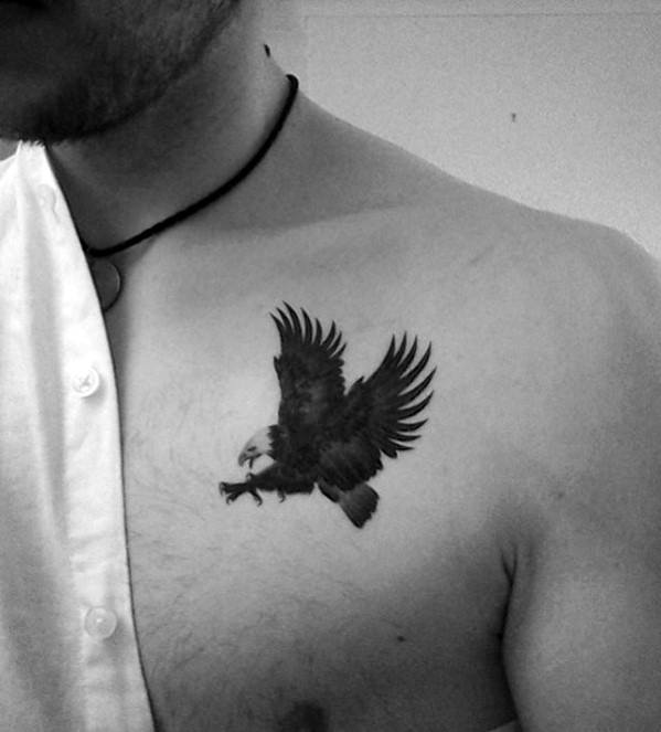 Small Bald Eagle Male Chest Tattoos