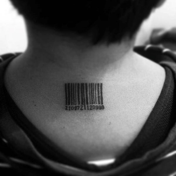 Small Barcode Back Of Neck Male Tattoos