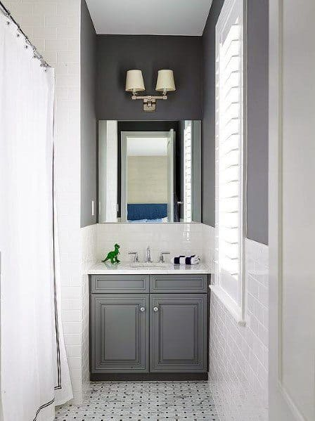 Small Bathroom Backsplash Ideas White Subway Tile With Grey Painted Walls