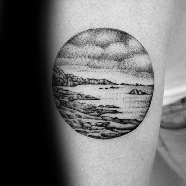 Small Beach Landscape Mens Leg Tattoos