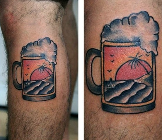 Small Beach Mens Beer Mug Traditional Side Of Leg Tattoo