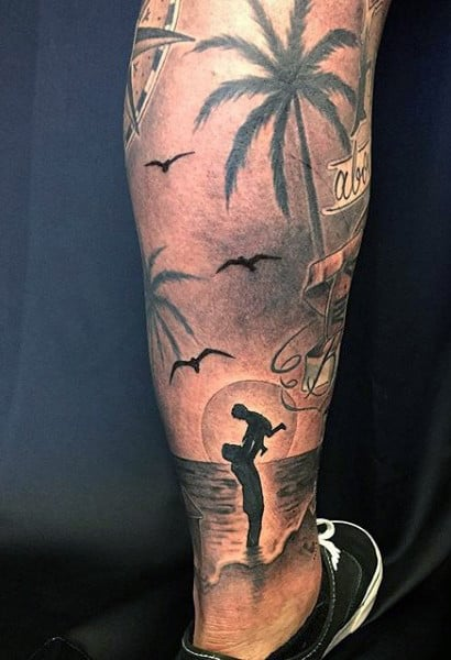 Small Beach Palm Tree Tattoos For Males On Back Of Legs