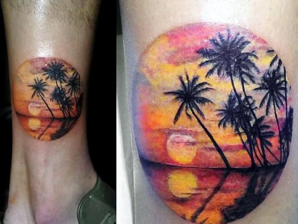 Small Beach Sunset With Palm Trees Mens Lower Leg Tattoo
