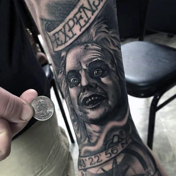 Small Beetlejuice Mens Sleeve Tattoos