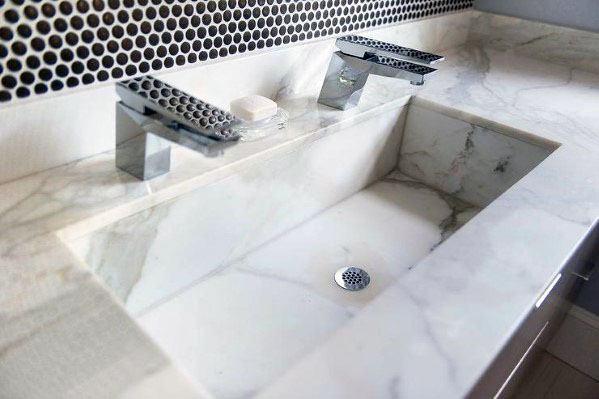 Small Black Circles With White Grout Bathroom Tile Backsplash Ideas