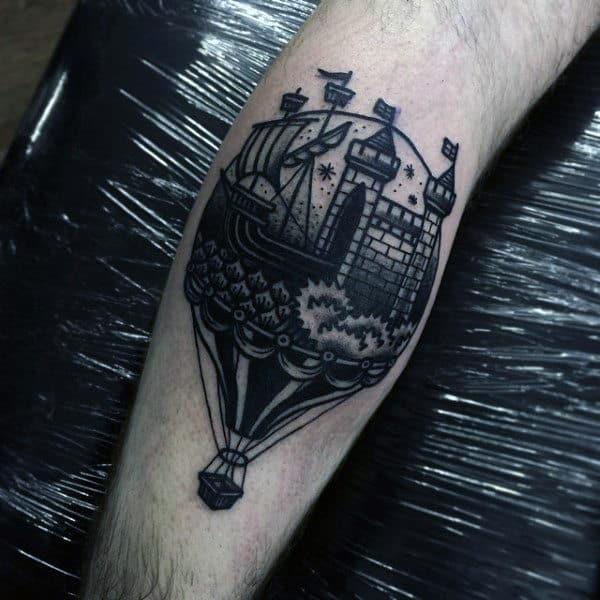 Small Black Ink Castle Hot Air Balloon Male Leg Calf Tattoos