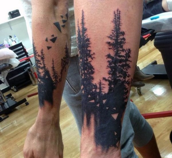 Small Black Ink Triangles With Trees Tattoo On Arms For Men
