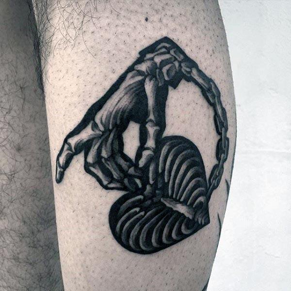 Small Bone Hand Mens Leg Tattoo Designs
