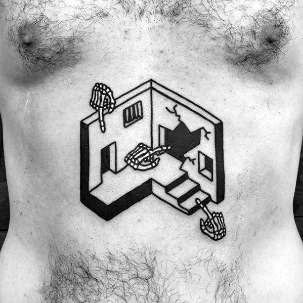 Small Building With Skeleton Hands Chest Tattoo For Guys