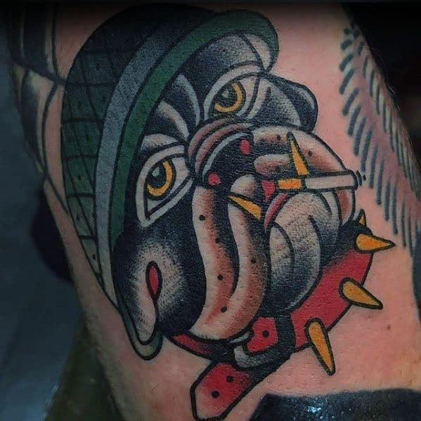 Small Bulldog Arm Traditional Tattoo Ideas For Guys