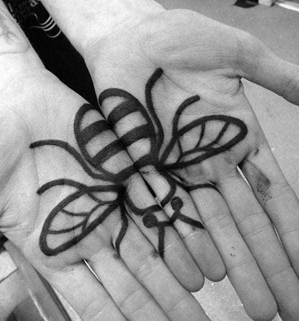 Small Bumblebee Mens Hand Tattoo Ideas