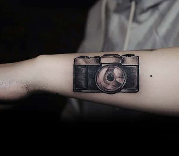 Small Camera Tattoos Male Forearms