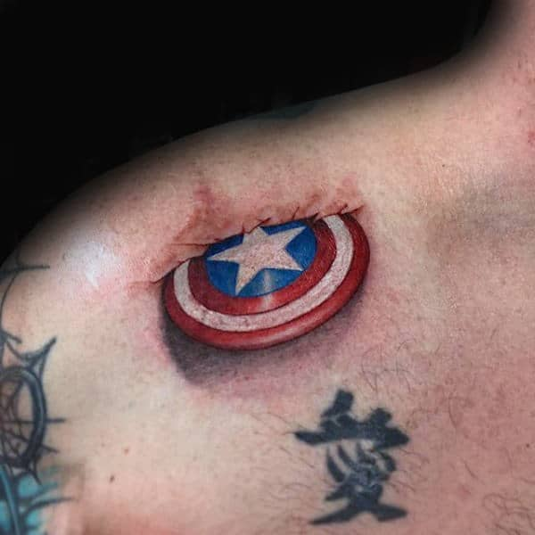 Small Captain America Shield In Skin 3d Mens Collar Bone Tattoo