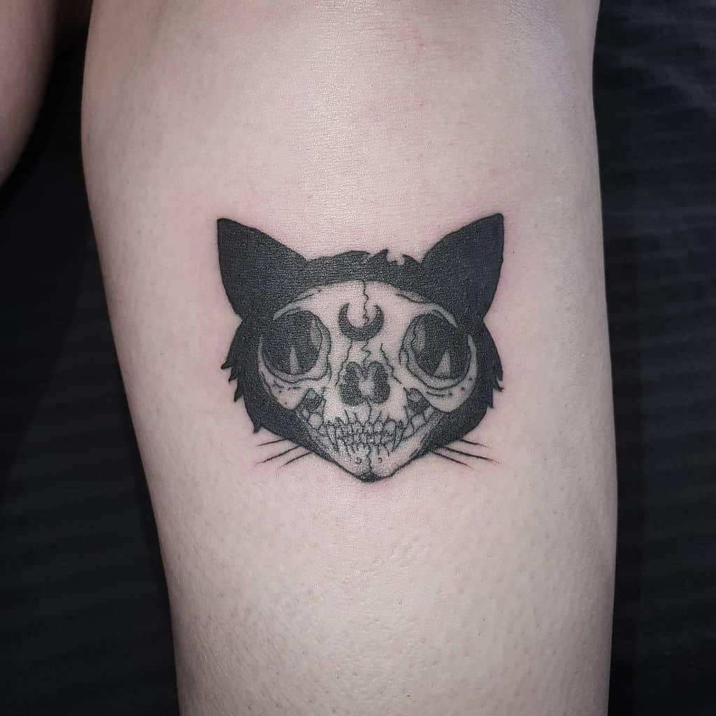 small cat skull tattoo jaded art