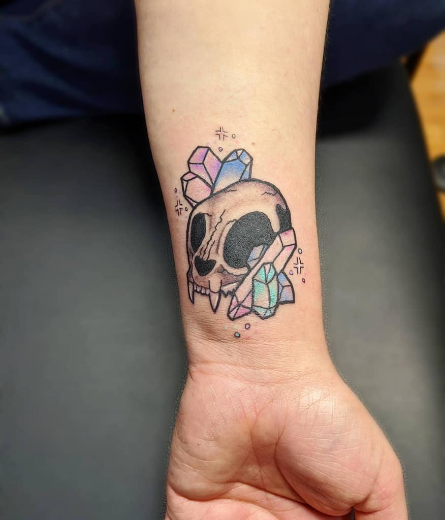 small cat skull tattoo kailiemarieartistry
