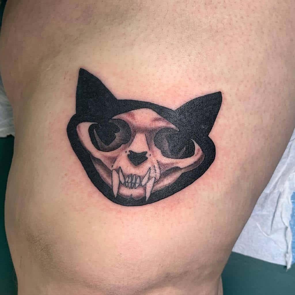 small cat skull tattoo zitman