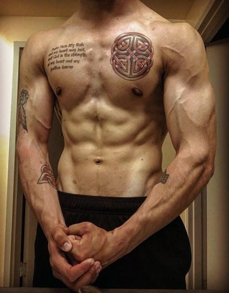 Small Celtic Knot Mens Upper Chest Tattoos