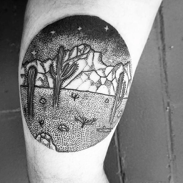 Small Circle Cactus Desert Themed Tattoos For Guys