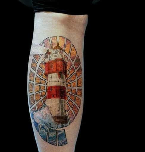 Small Circle Lighthouse On Guys Forearm