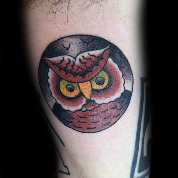 Small Circle Owl Tattoos For Guys