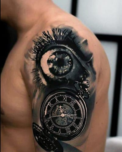 Arm Small Clock Tattoo For Gentlemen