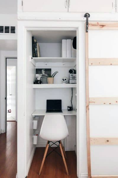 Small Closet Office Design Ideas With Sliding Barn Door