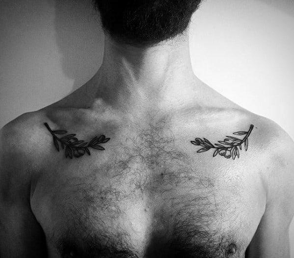 Small Collar Bone Olive Tree Tattoo Ideas For Males