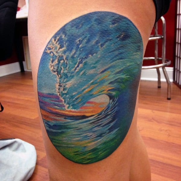 Small Color Tattoos Of Water For Men