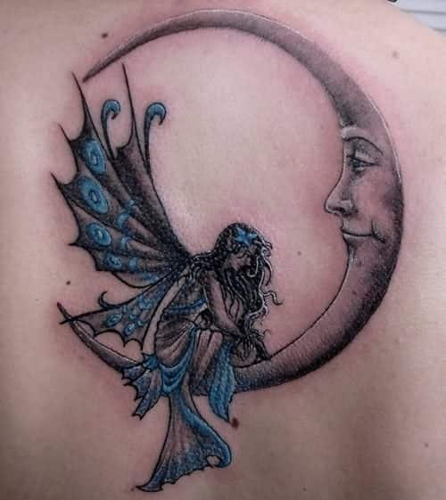 Small Colored Fairy Moon Tattoo