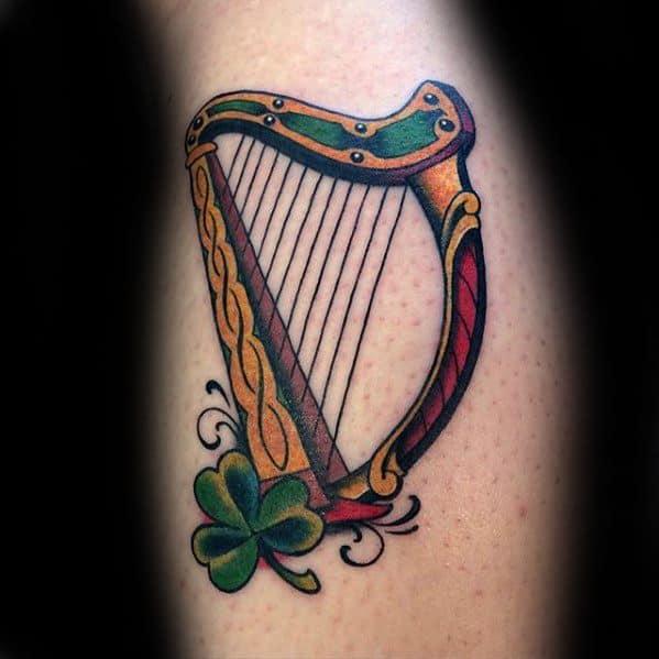 Small Colorful Irish Male Harp Tattoo