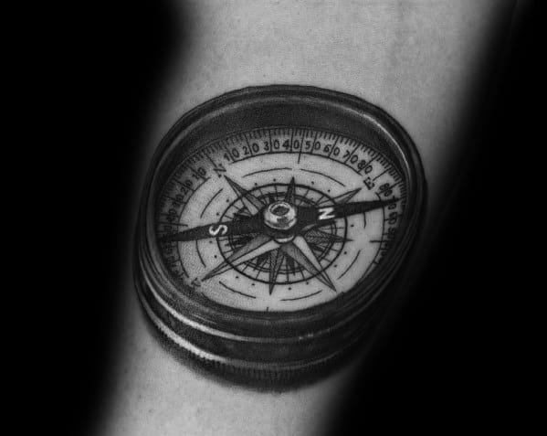 Small Compass Mens Tattoos