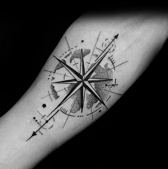 Small Compass Tattoo Design Ideas For Men
