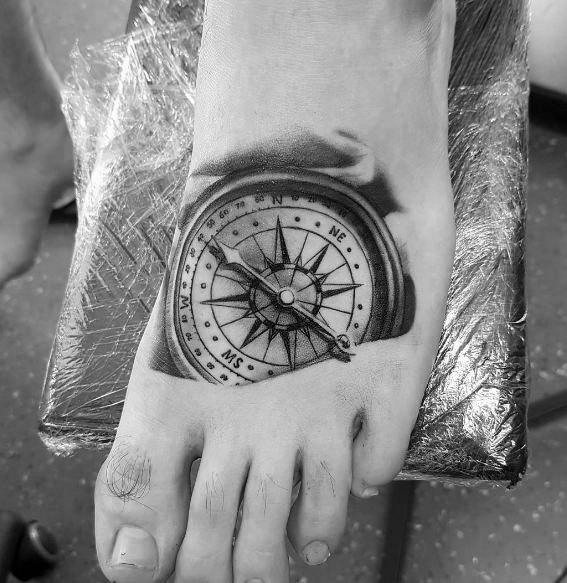 Small Compass Themed Tattoo Design Inspiration