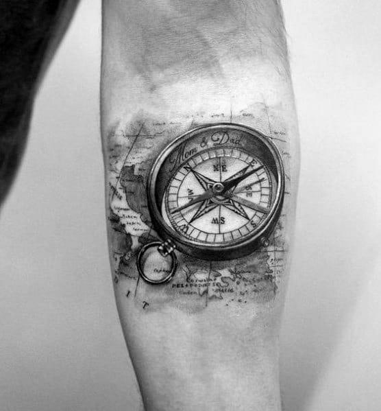 Small Compass Themed Tattoo Ideas