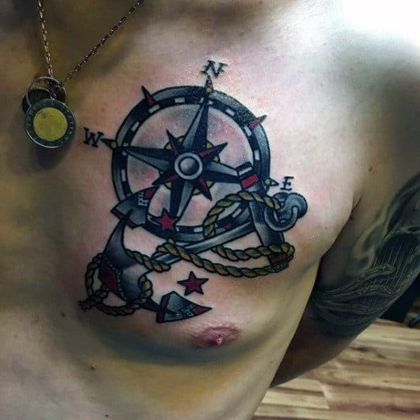 Small Compass With Anchor Old School Male Chest Tattoo