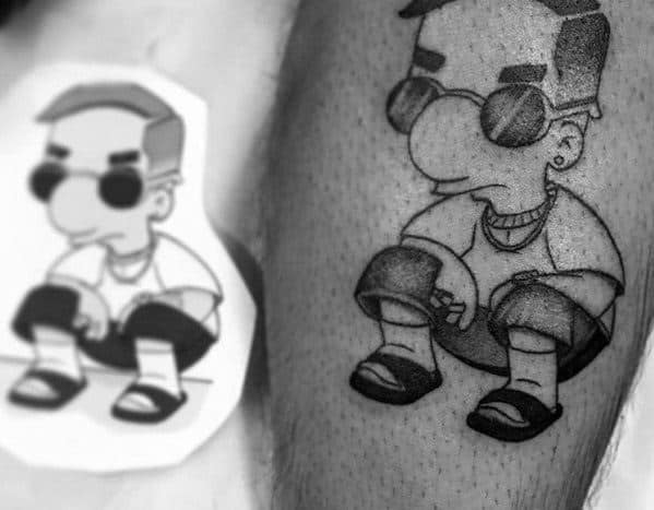 Small Cool Mens Simpsons Tattoo Ideas