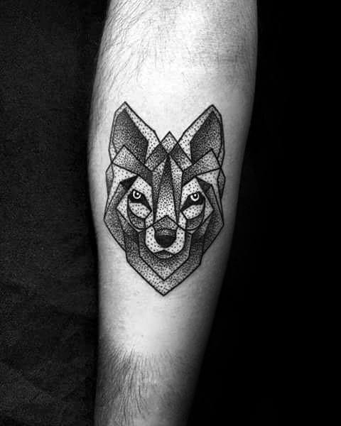 Small Coolest Mens Dotwork Geometric Wolf Inner Forearm Tattoo For Guys
