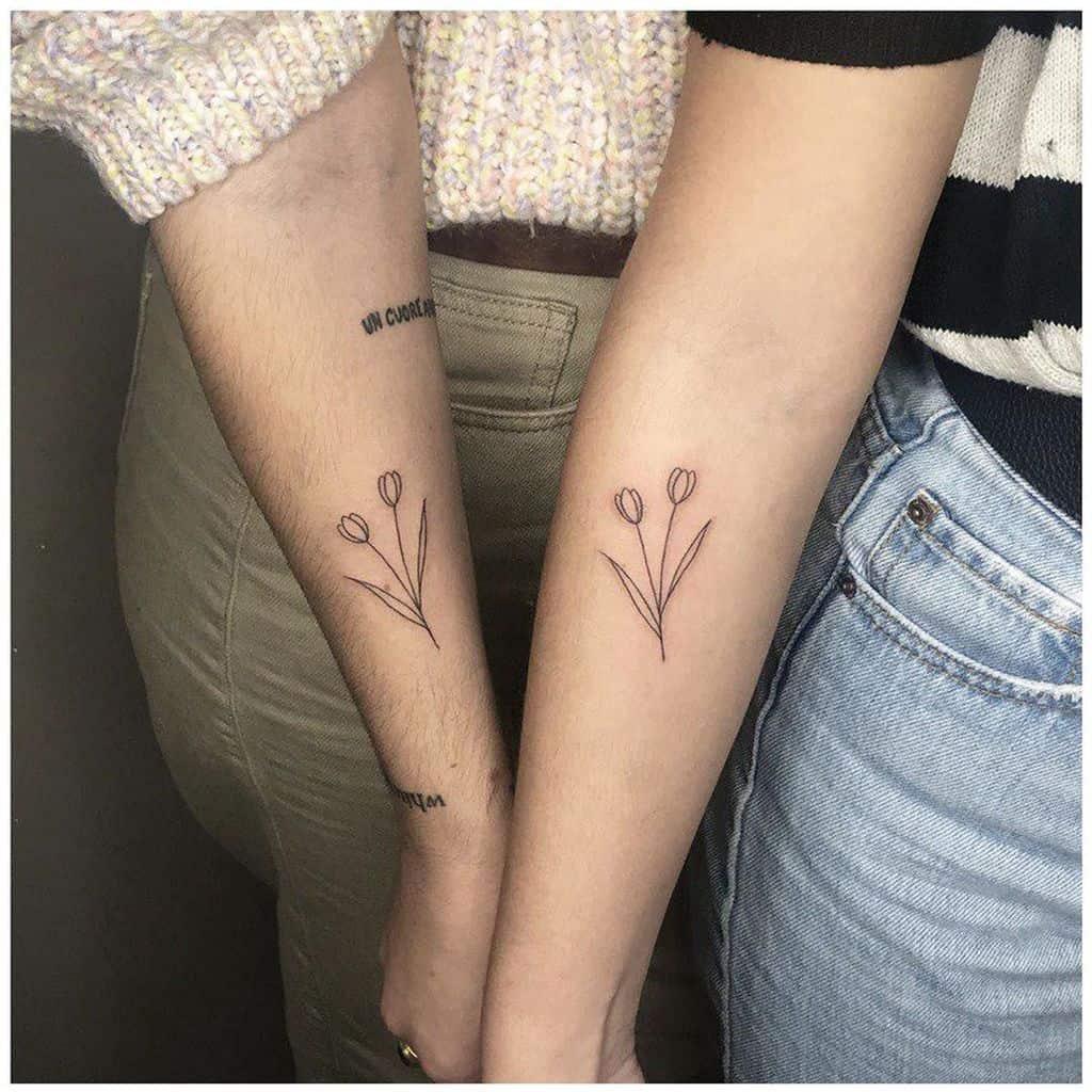 Small Couple Tulip Tattoo