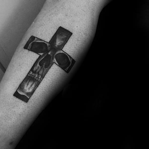 small-cross-skull-forearm-tattoo-design-ideas-for-gentlemen