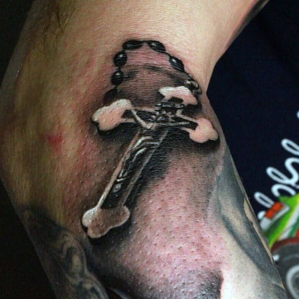Small Cross With Rosary Tattoos For Guys