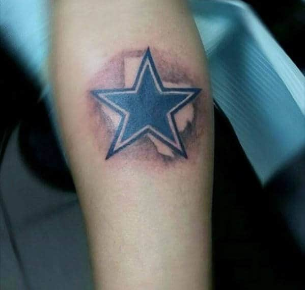 Small Dallas Cowboys Texas State Guys Tattoo On Forearm