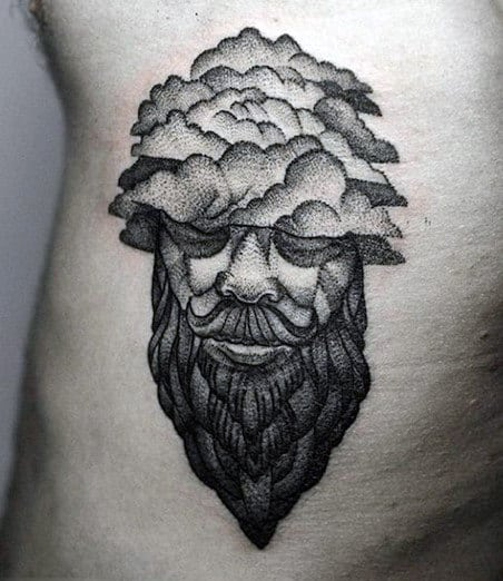 Small Dark Cloud Tattoo For Men On Stomach