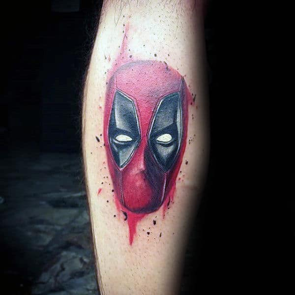 Small Deadpool Watercolor Guys Tattoo